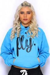 FLY. Comfort Hoodie: Cali Blue/Black Print (UNISEX FIT)