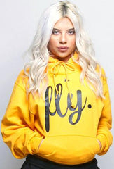 FLY. Comfort Hoodie: Gold/Black Print (UNISEX FIT)
