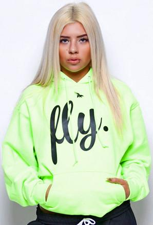 FLY. Comfort Hoodie: Lime Green/Black Print (UNISEX FIT)