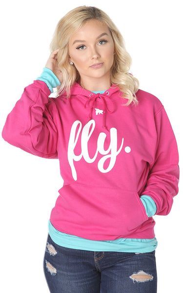FLY. Comfort Hoodie: Pink/White Print (UNISEX FIT)