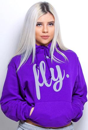 FLY. Comfort Hoodie: Purple/Grey Print (UNISEX FIT)
