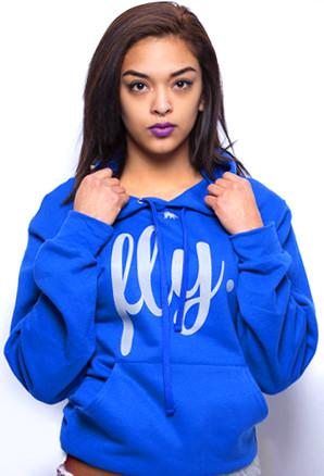 FLY. Comfort Hoodie: Royal/Grey Print (UNISEX FIT)