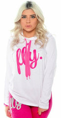 FLY. Sports Hoodie Tee: White/Pink
