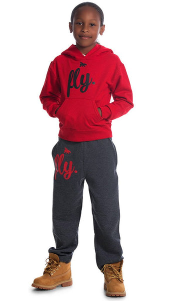 FLY. KIDS Comfort: RedHoodie/Dark Grey Pants