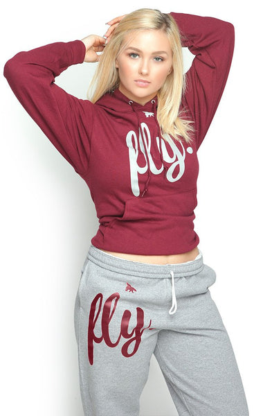 FLY. Comfort Hoodie Outfit: Maroon/Grey (UNISEX FIT)