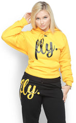 FLY. Comfort Hoodie Outfit: Gold/Black (UNISEX FIT)