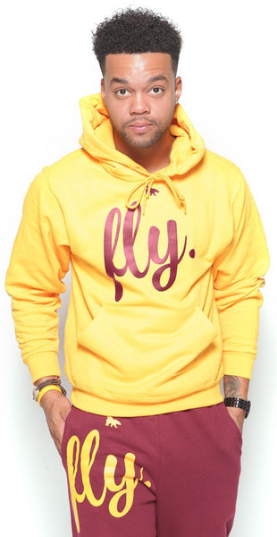 FLY. Comfort Hoodie Outfit: Gold/Maroon (UNISEX FIT)m