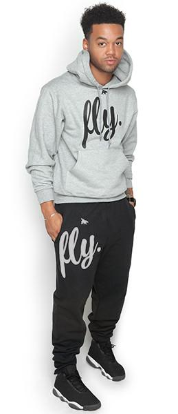 FLY. Comfort Hoodie Outfit: Grey TOP/Black PANTS (UNISEX FIT)m