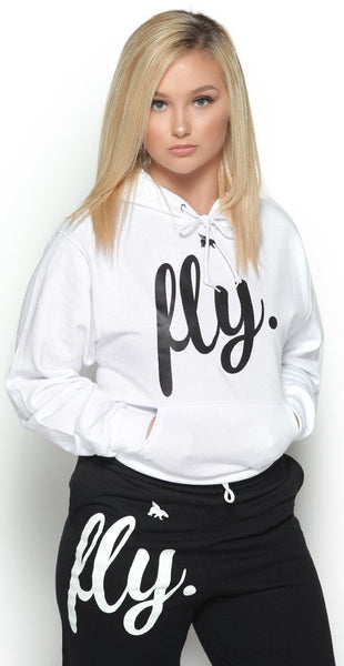 FLY. Comfort Outfit: White Hoodie/Black Pants (UNISEX FIT)