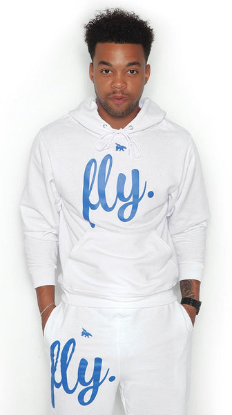 FLY. Comfort Hoodie Outfit: ALL WHITE/Blue Print (UNISEX FIT)