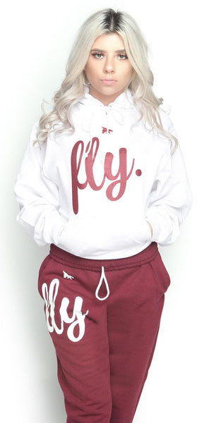 FLY. Comfort Outfit: White/Maroon (UNISEX FIT)
