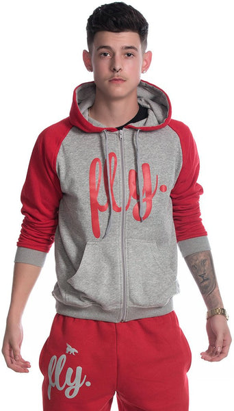 FLY. MENS COMFORT 2-TONE ZIP-UP OUTFIT - RED