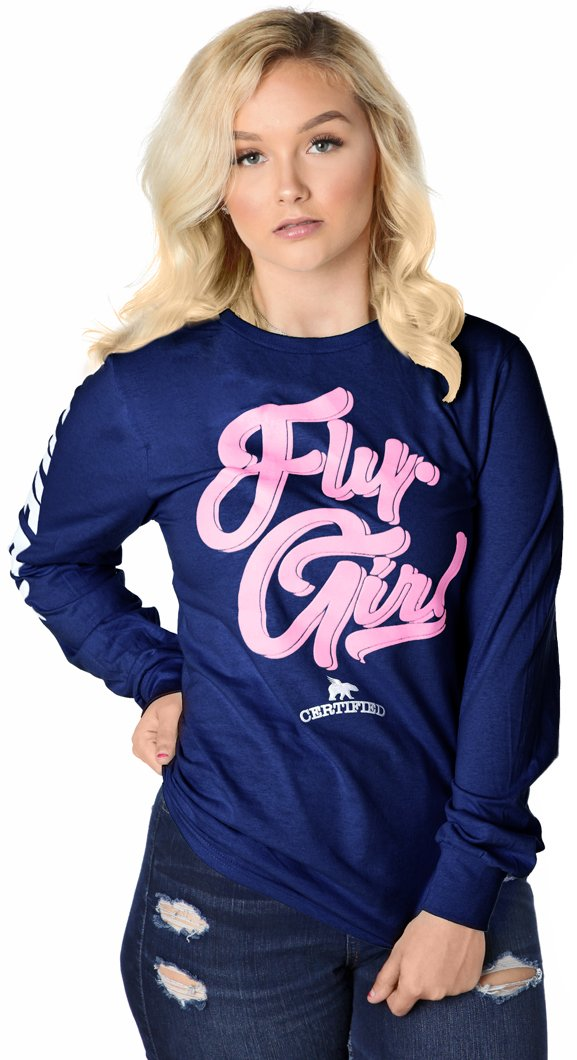 Certified FLY. Girl Long-Sleeve Shirt: Navy