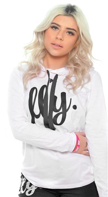 FLY. Sports Hoodie Tee: White/Black