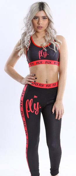 FLY. Sports Bra & Leggings Combo BLACK/PINK