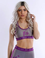 FLY. Sports Bra: GREY/PURPLE
