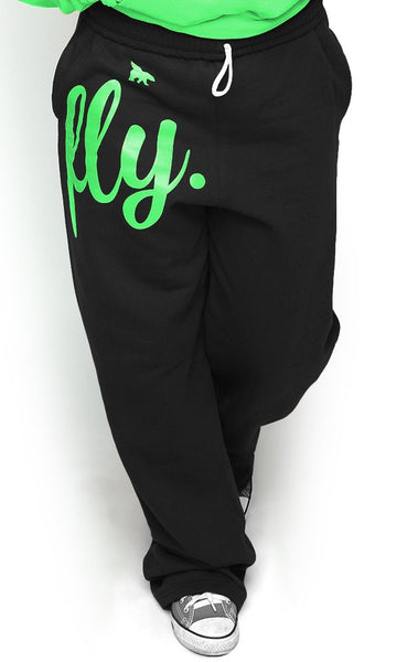 FLY. COMFORT Sweatpants: Black w/LIME GREEN Print (UNISEX FIT)