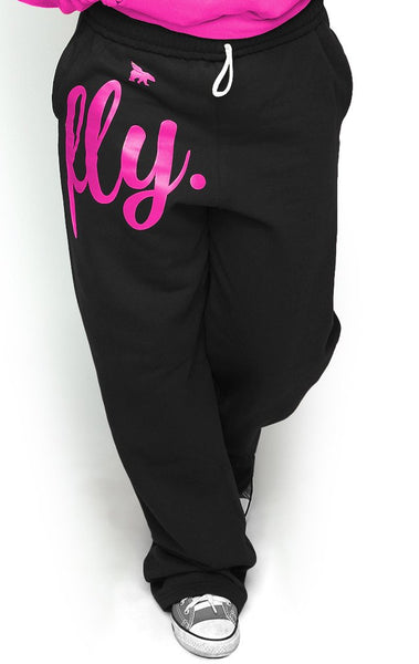 FLY. COMFORT Sweatpants: Black w/PINK Print (UNISEX FIT)