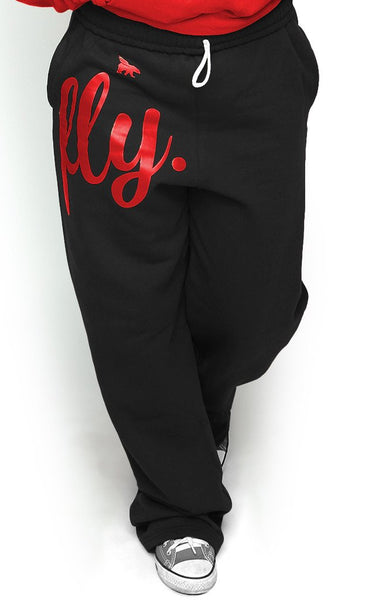 FLY. COMFORT Sweatpants: Black w/Red Print (UNISEX FIT)