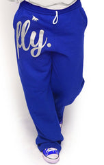 FLY. COMFORT Sweatpants: Blue w/White Print (UNISEX FIT)