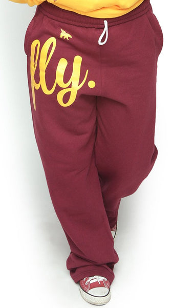 FLY. COMFORT Sweatpants: Maroon w/Gold Print (UNISEX FIT)