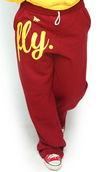 FLY. COMFORT Sweatpants: Red w/Gold Print (UNISEX FIT)