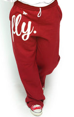 FLY. COMFORT Sweatpants: Red w/White Print (UNISEX FIT)