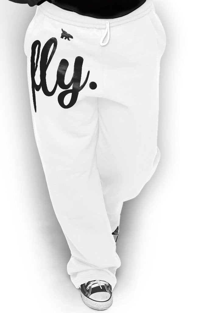 FLY. COMFORT Sweatpants: White w/Black Print (UNISEX FIT)