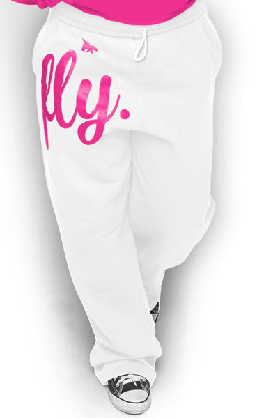 FLY. COMFORT Sweatpants: White w/Pink Print (UNISEX FIT)