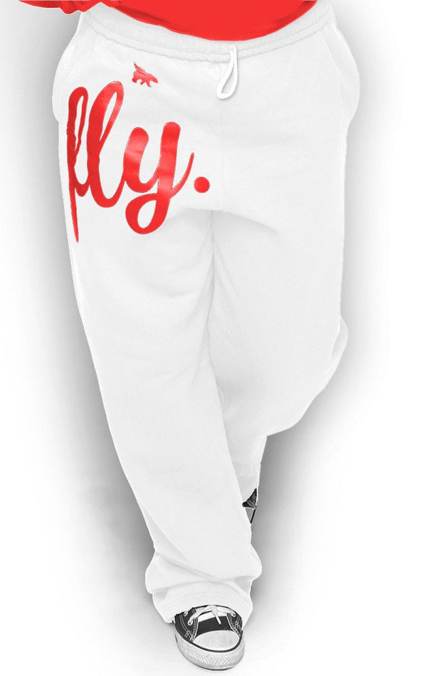 FLY. COMFORT Sweatpants: White w/Red Print (UNISEX FIT)