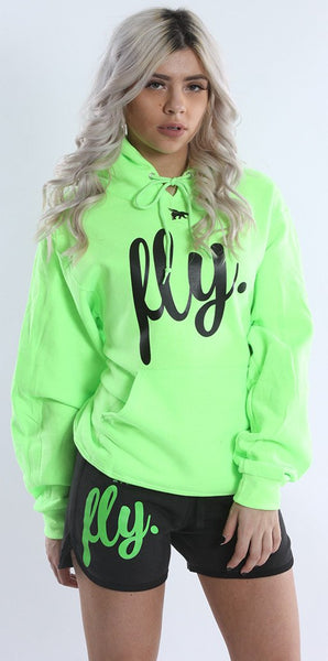 FLY. Comfort Oufit - Lime Green Hoodie W/ Lounge Shorts