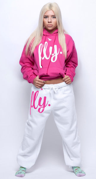 FLY. Pink Hoodie/White Pants Sweatsuit (UNISEX FIT)