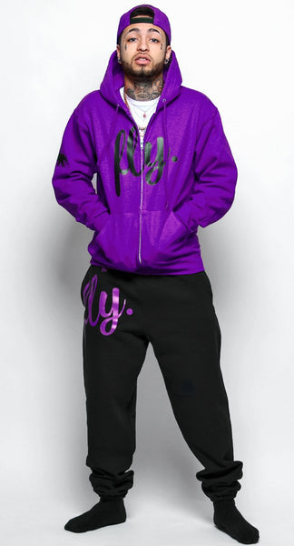 FLY. Purple Hoodie/Black Pants Sweatsuit (NON ZIP-UP) (UNISEX FIT)