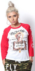 Fly Shyt Only - Marilyn Raglan (red/white)