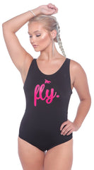 Fly. Classic One-Piece Swimsuit: Black/Pink