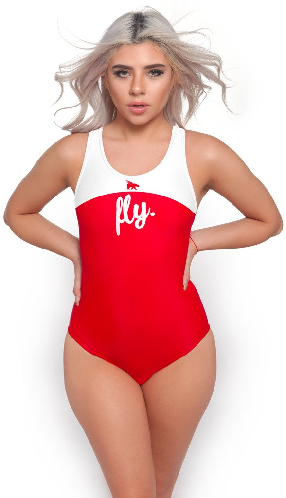 Lifestyle Swimsuit: White/Red