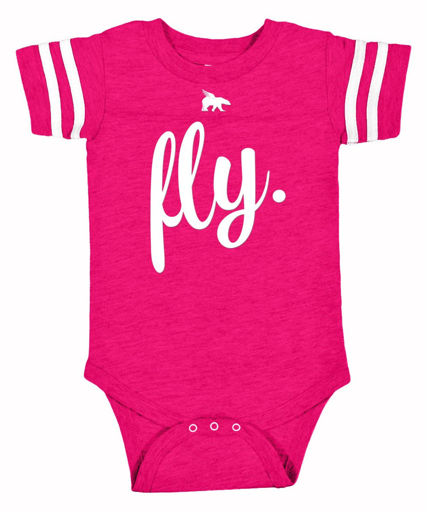 FLY. TODDLER Onesie: Pink/White