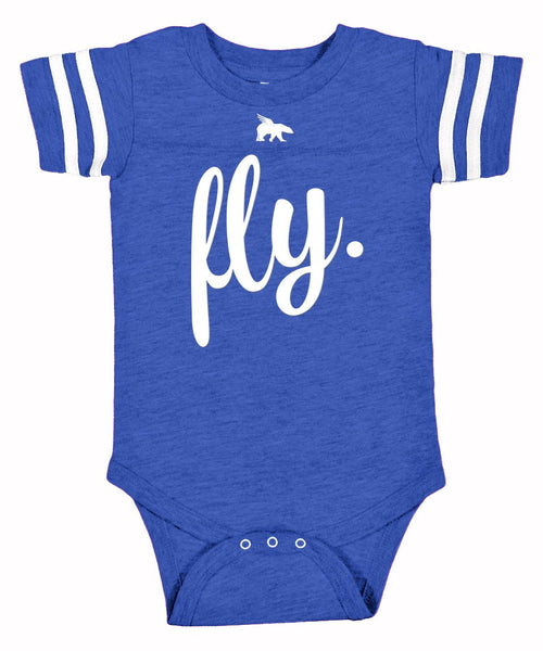 FLY. TODDLER Onesie: Vintage Royal/White