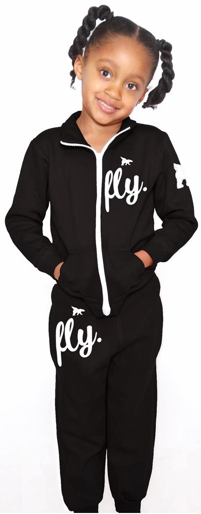 KIDS FLY. Zip-Up Outfit: Black