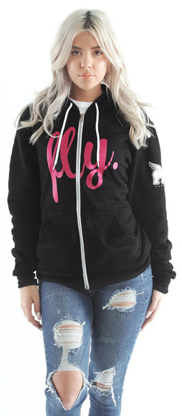 LIVIN FLY. ZIP-UP HOODIE: BLACK w/ PINK Print