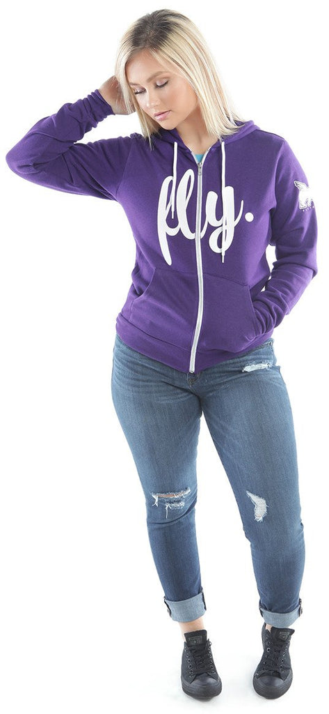 LIVIN FLY. ZIP-UP HOODIE: PURPLE