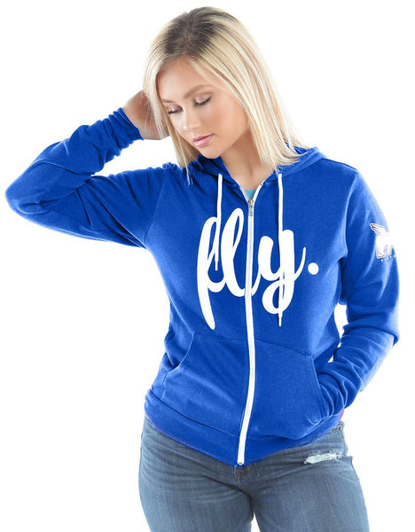 LIVIN FLY. ZIP-UP HOODIE: ROYAL