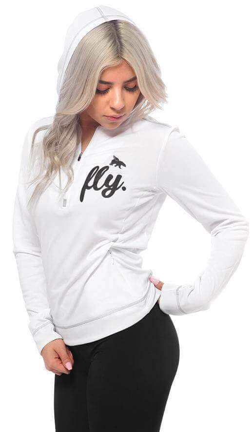 ALL DAY SPORTS Half Zip Pullover: White
