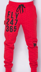 FLY 24/7 365 Joggers (Red w/ black print)
