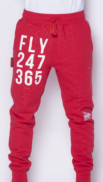 FLY 24/7 365 Joggers (Red w/ white print)
