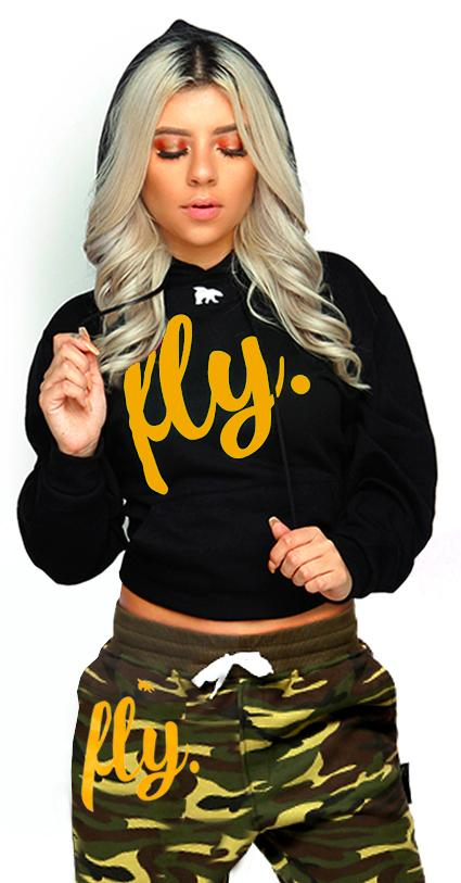 FLY. Lifestyle Comfort Hoodie: Black w/ Gold/White Print (UNISEX FIT)