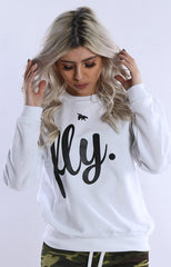 FLY. Crewneck: White/Black Print (UNISEX FIT)