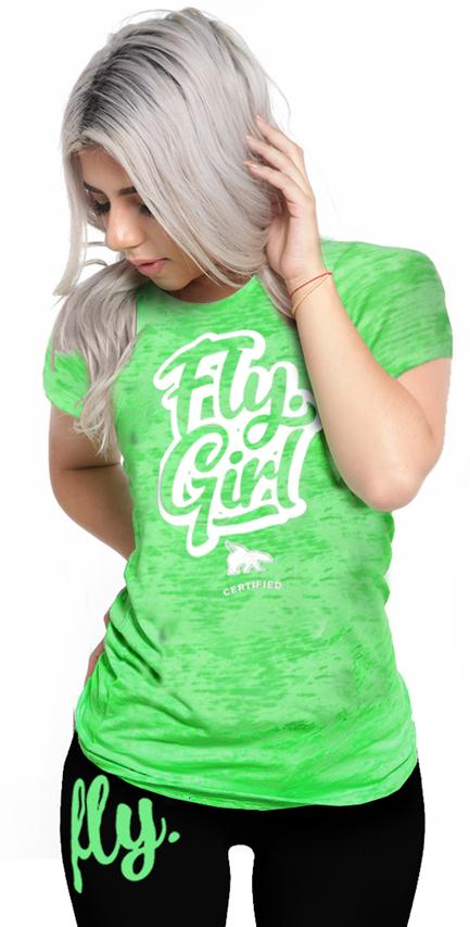 Certified Fly. Girl Burnout Tee: Neon Green