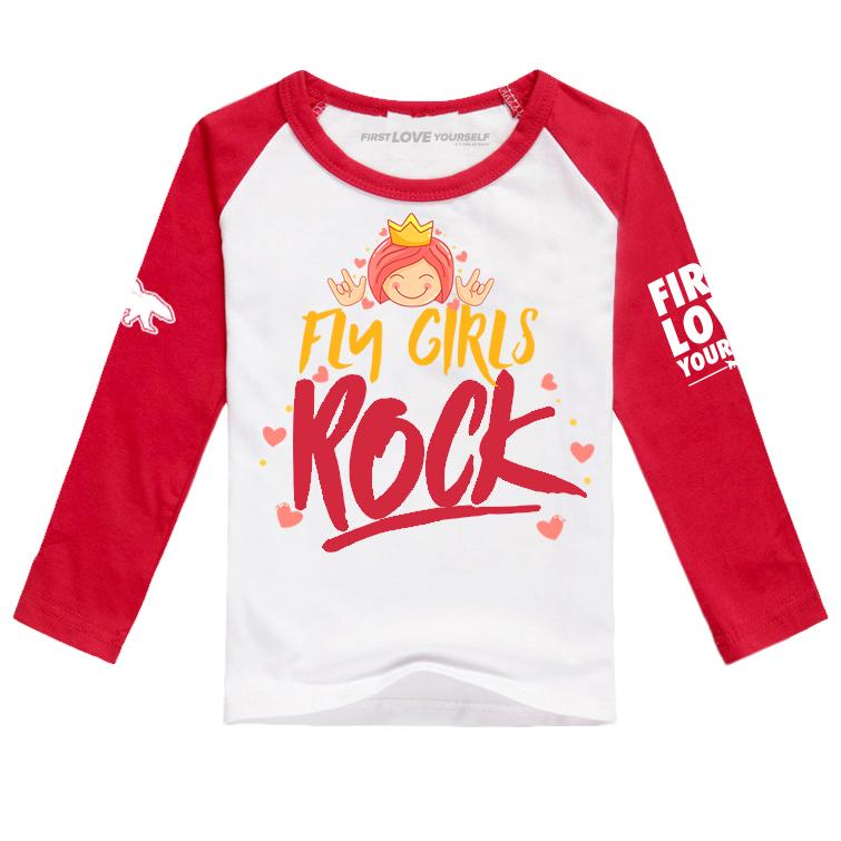 Fly Girls Rock Raglan: Red/White