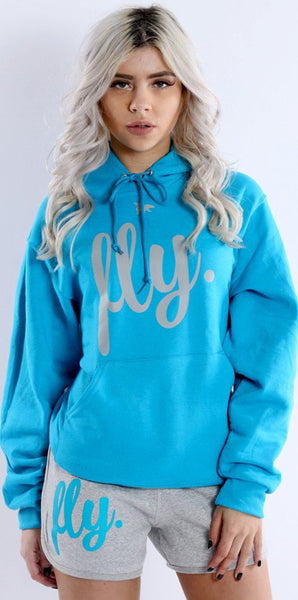 FLY. Comfort Oufit - Cali Blue/Grey Hoodie w/ Lounge Shorts